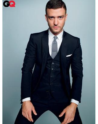 Complet bleu marine chemise de ville blanche cravate blanche et noire large 827