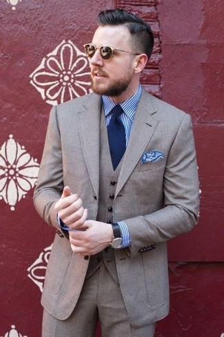 Chemise de ville à rayures verticales blanc et bleu Xacus