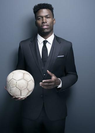 Complet noir chemise de ville blanche cravate noire large 21992
