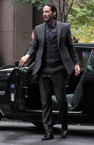 Complet noir chemise de ville noir chaussures derby noires large 14474