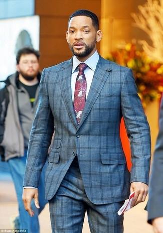 Comment porter: costume à carreaux gris, chemise de ville blanche, cravate imprimée bordeaux