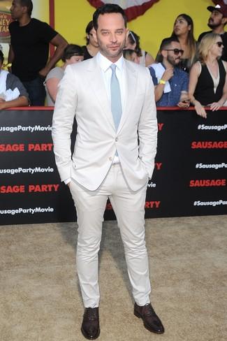 Costume blanc chemise de ville blanche chaussures richelieu bordeaux large 26355