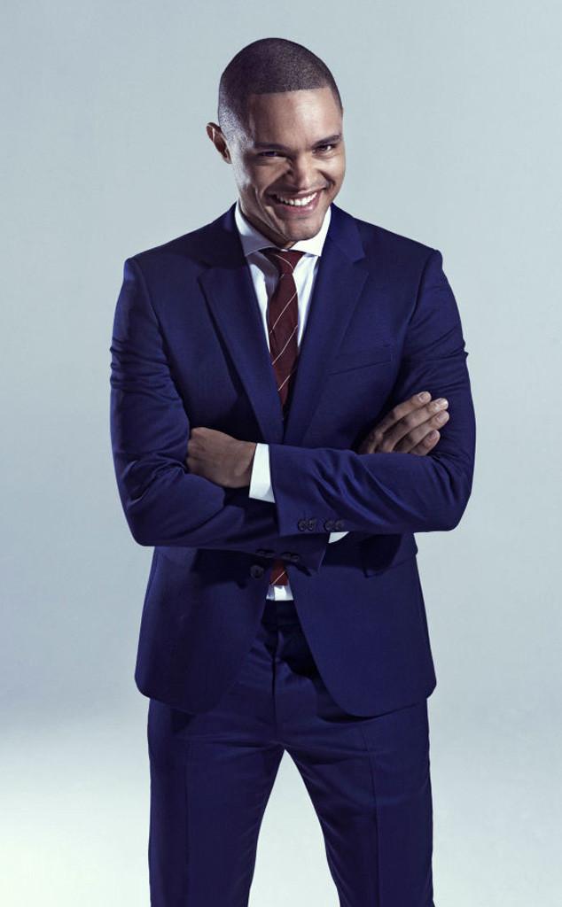Trevor Noah wearing Navy Suit, White Dress Shirt, Burgundy ...