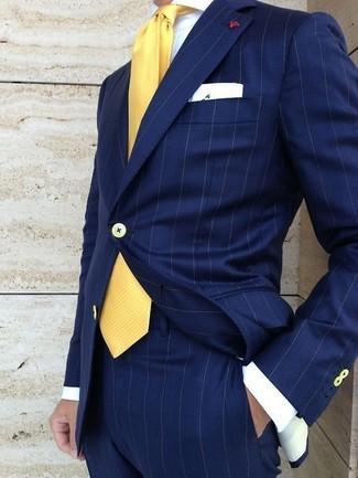 43f4d2f3e593 Tenue  Costume à rayures verticales bleu marine, Chemise de ville blanche, Cravate  jaune, Pochette de costume blanche   Mode hommes   Lookastic France