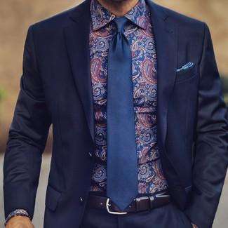 Comment porter: costume bleu marine, chemise de ville imprimée cachemire bleu marine, cravate en soie bleu marine, pochette de costume imprimée bleue