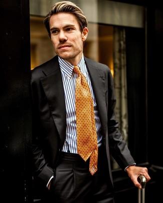 Comment porter: costume noir, chemise de ville à rayures verticales blanc et bleu, cravate imprimée orange