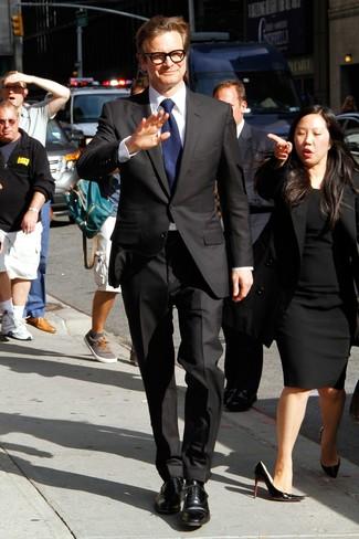 Costume noir chemise de ville blanc chaussures richelieu noires large 13772
