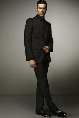 Costume noir cravate elegant costume versace francevente costume versace homme homme pour - Costume noir chemise noir ...
