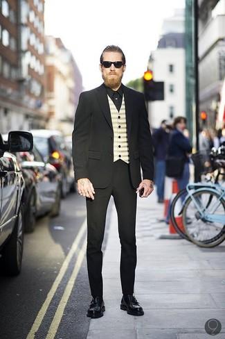 Costume noir gilet beige chemise de ville noir large 547