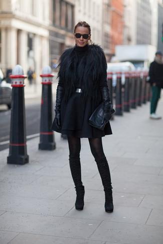 Gants longs en cuir noirs