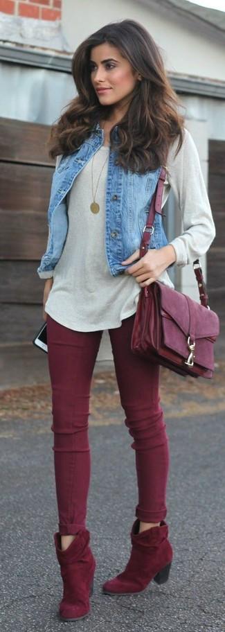 ce6030bd0fb7 Comment porter des bottines rouges avec un jean skinny rouge (3 ...