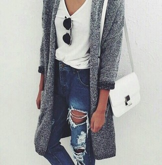 Gilet en tricot gris Forte Forte