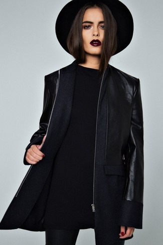 Chapeau en laine noir Maison Michel