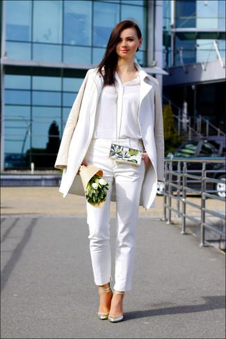 Chemise de ville en soie blanche Moschino