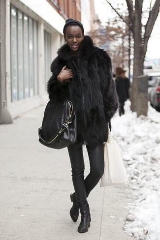 Manteau de fourrure noir Liska