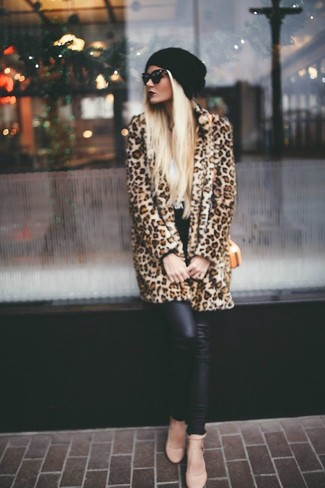 Manteau de fourrure imprimé léopard marron Asos