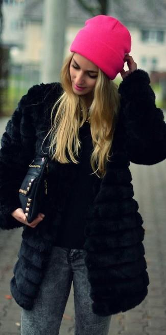 Manteau de fourrure noir Sacai