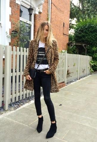 Tenue: Manteau de fourrure imprimé léopard marron clair, T