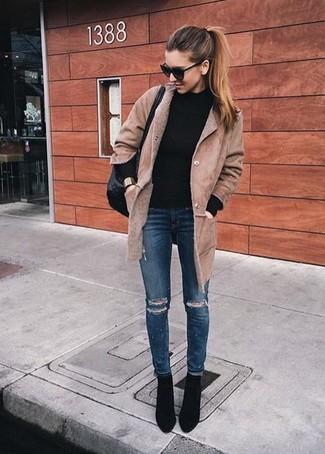 Manteau en peau de mouton retournée brun clair Agnona
