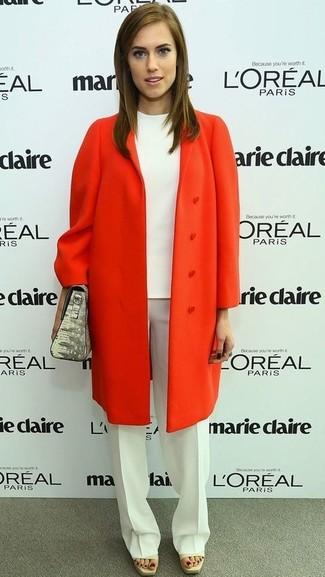 Manteau orange chemisier a manches courtes blanc pantalon de costume blanc sac a main gris large 959