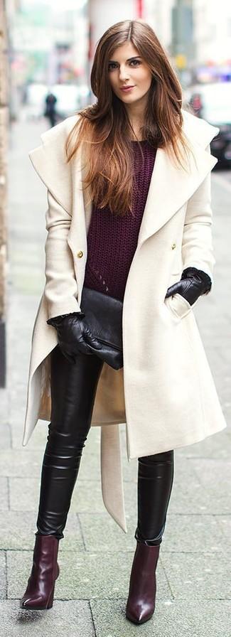 Gants en cuir noirs Givenchy