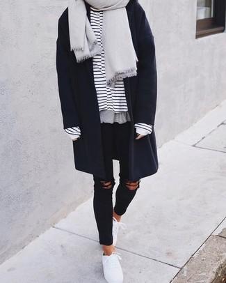 Comment porter  manteau noir, t-shirt à manche longue à rayures  horizontales blanc 740dbe5feb4