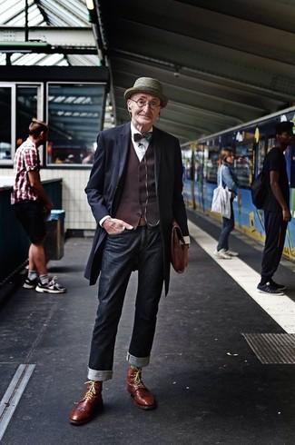 Pardessus gilet chemise de ville jean bottes brogue serviette chapeau noeud papillon ceinture large 13312