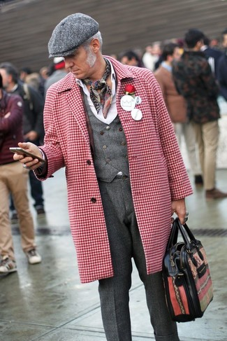 Pantalon de costume en laine gris foncé Raf Simons