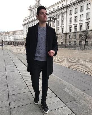 Pull torsadé gris Gant