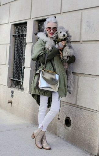 Parka jean skinny blanc bottines sac bandouliere argente large 8972