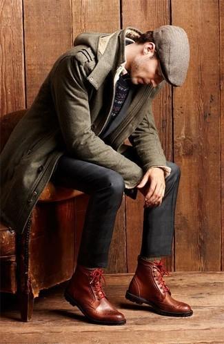 Comment porter: parka en laine olive, pull à col rond en jacquard bleu marine, chemise à manches longues beige, pantalon de costume écossais bleu marine