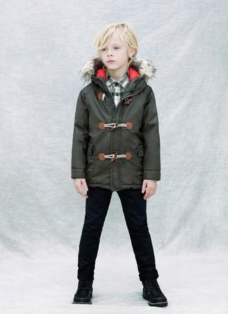 Comment porter: parka vert foncé, chemise à manches longues écossaise vert foncé, jean noir, bottes noires