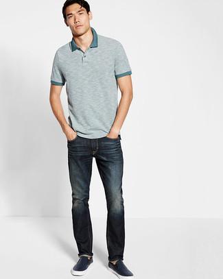 Comment porter: polo gris, jean bleu marine, baskets à enfiler en cuir bleu marine
