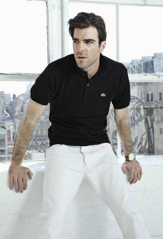 Polo noir jean blanc montre en cuir noir large 12351