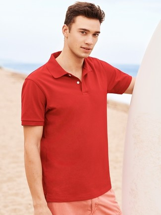 Comment porter: polo rouge, short rose