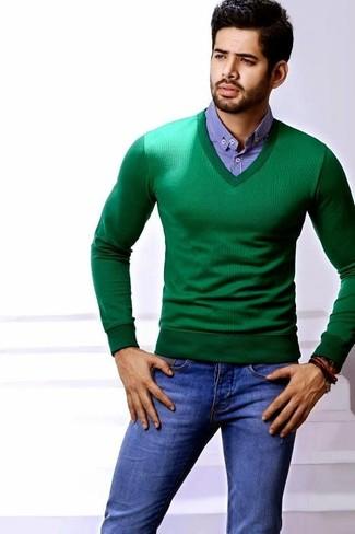 Pull à col en v vert Hackett Clothing