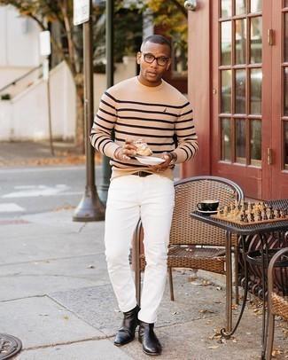 Tendances mode hommes: Opte pour un pull à col rond à rayures horizontales marron clair pour un look de tous les jours facile à porter.