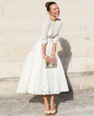 Pochette en cuir imprimée beige Dolce & Gabbana
