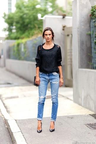 65ac6693fc427 Comment porter  pull à col rond en dentelle noir, jean skinny déchiré bleu,