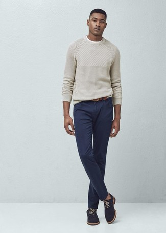 Pull à col rond beige Tom Tailor Denim