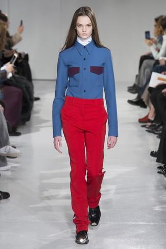 Pantalon de costume rouge Lanvin