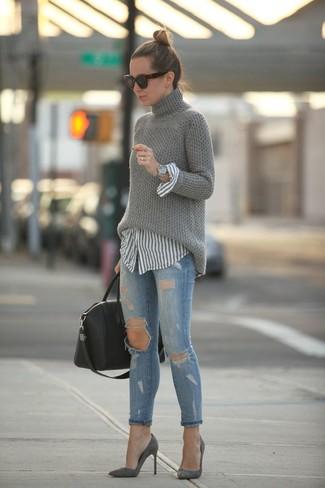 Pull à col roulé en tricot gris Lorena Antoniazzi