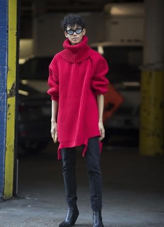 Comment porter: pull à col roulé en laine en tricot rouge, jean skinny noir, bottines chelsea en cuir noires