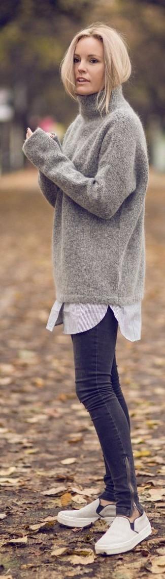 c12cf89097968 Comment porter  pull à col roulé en laine gris, chemise de ville à rayures