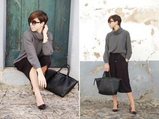 Pull à col roulé en tricot gris Eudon Choi