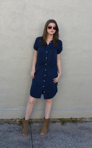 Robe chemise bleu marine Vince