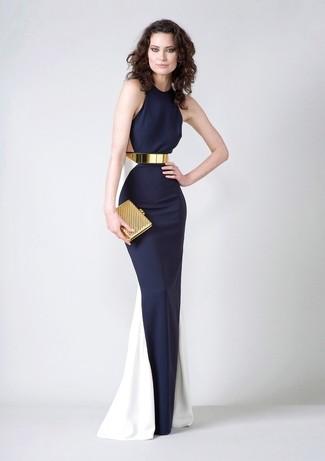 70d85c4537d Tenue  Robe de soirée bleu marine et blanc