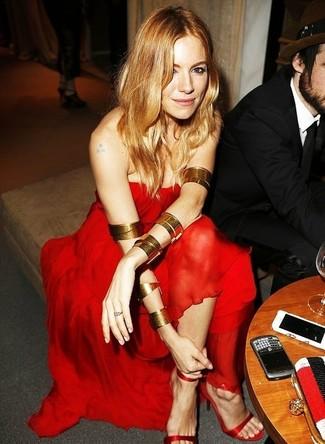 Robe de soiree en chiffon rouge sandales a talons en soie rouges large 1398
