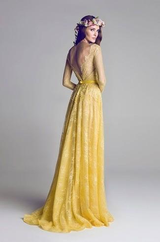 Robe de soiree jaune dentelle