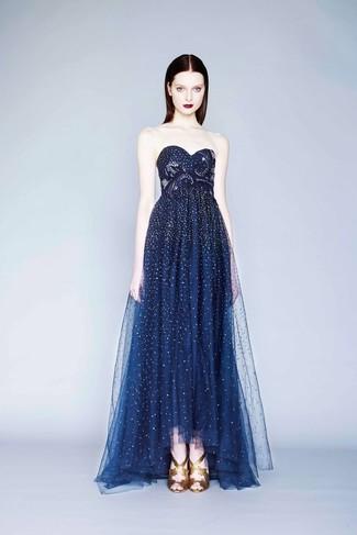 10bdff0d252 Tenue  Robe de soirée ornée de perles bleu marine